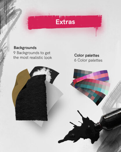 Extras: 9 Backgrounds, to get you the most realistic look; 6 Color Palettes
