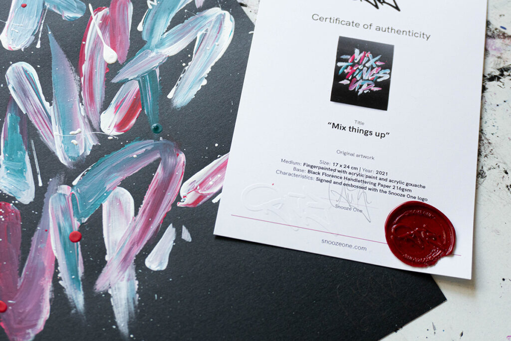 """Certificate of authenticity for the """"Mix things up"""" original artwork"""